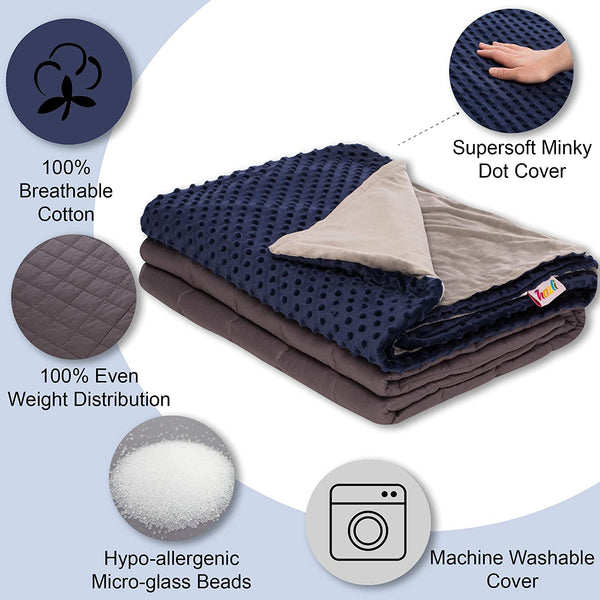 15 lbs Weighted Blanket with Removable Cover - 48 x 72 - Navy Blue