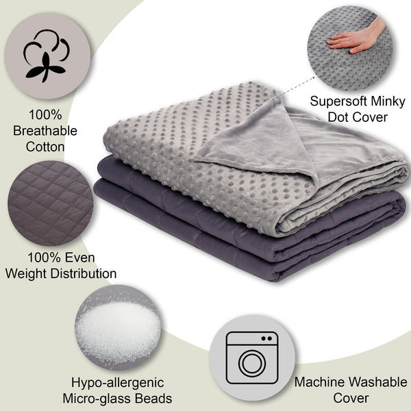 41x60 10 lbs Weighted Blanket for Kids with Removable Cover - Grey