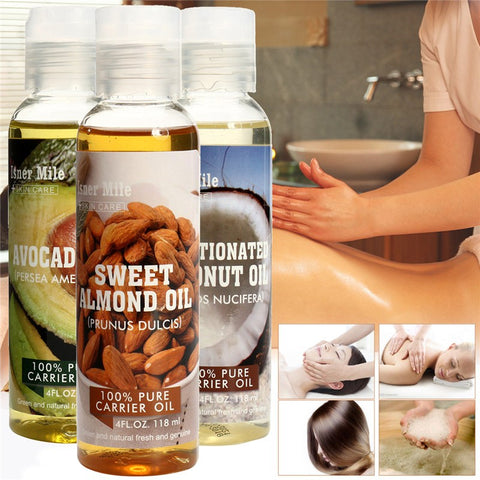 100% Pure Natural Massage Spa Almond Avocado Coconut Essential Oil Cold Pressed Moisturiser Castor Oil Hydrating Hair Care
