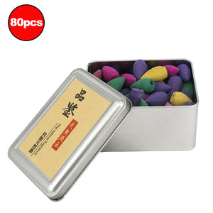 Mixed 80Pcs Colored Smoke Backflow Incense Cones