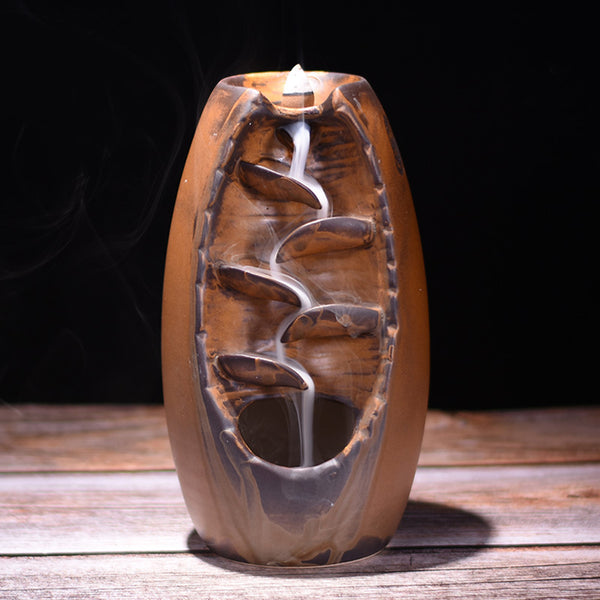 Ceramic Waterfall Backflow Incense Burner Censer Holder Meditation Crafts Temple Home Room Decoration Gifts Zen Ornaments