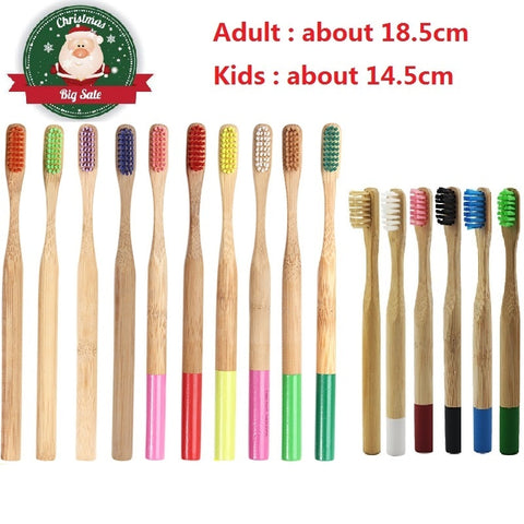 1PCS Adult Kids Colorful Bamboo Toothbrush Natural Low-carbon Eco-friendly Soft Bristle Toothbrush Oral Care