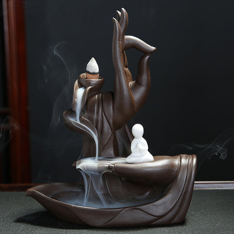 With 20Pcs Cones The Monk Purple Clay Incense Stick Burner Buddha Hand Backflow Incense Censer Lotus Incense Holder