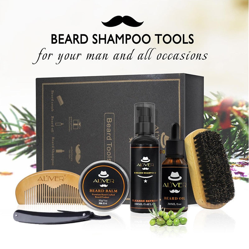 Aliver Clean Set  With Essential Shampoo Brush Comb Oil Cream for Men Packed in a luxury premium gift box Nature Grooming Razor kit