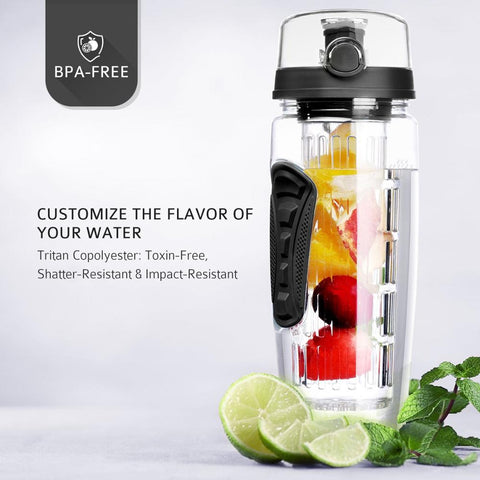 BAISPO 32oz 900ml BPA Free Fruit Infuser Juice Shaker Sports Lemon Water Bottle Tour hiking Portable Climbing Camp Bottles