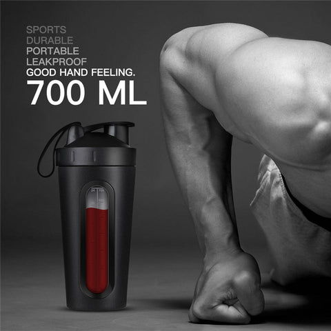 Stainless Steel Protein Shaker Bottle 700ml Gym Fitness Sports Shaker Eco Friendly Water Bottle Protein Powder Mixer BPA Free