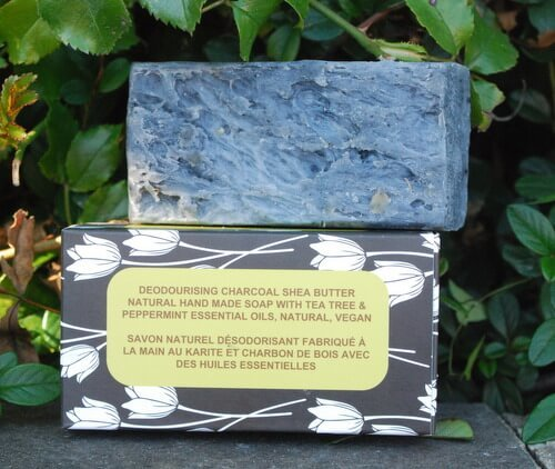 deodourising charcoal shea butter natural hand made soap with tea tree and peppermint essential oils natural vegan