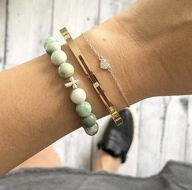 Amazonite + Cross Bracelet - Miana Jewels