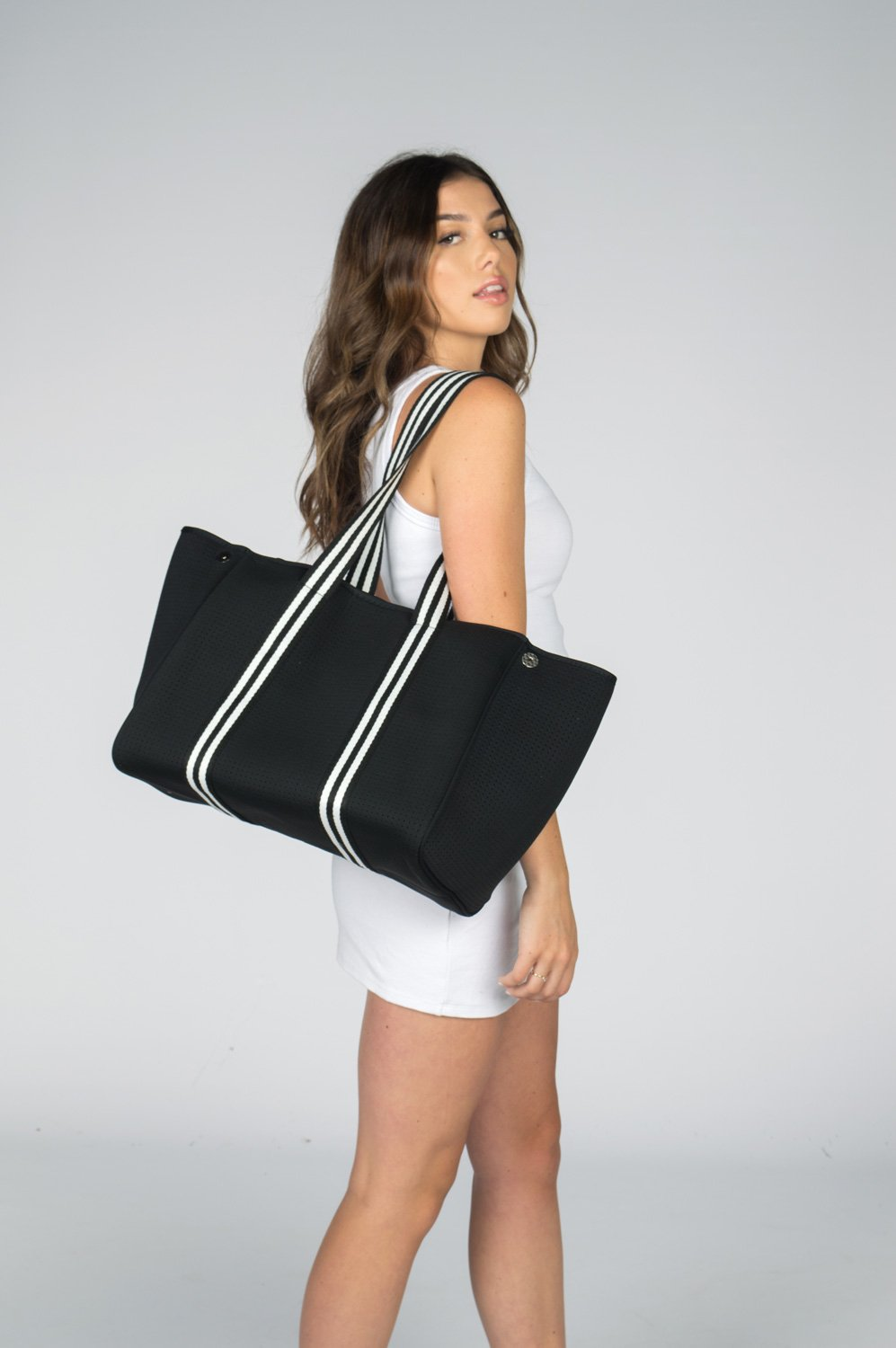 Aria Black Tote Bag by Neoprene Bags