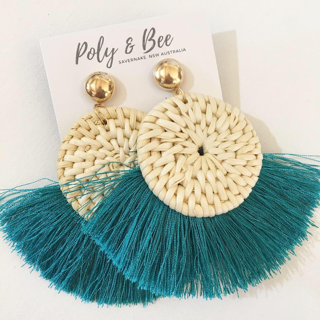 Rattan Weave Tassel Earrings - Teal
