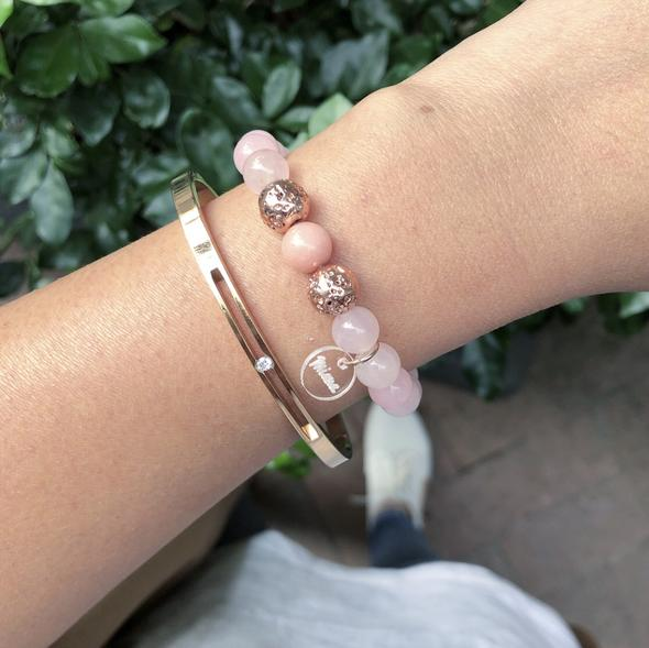 Rose Quartz + Rose Gold Lava Bracelet - Miana Jewellery