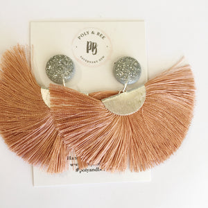 Silver Sparkle Fan Tassel Earrings