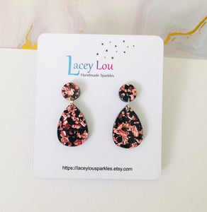 Teadrop Chunky Glitter (Small) Earrings by Lacey Lou