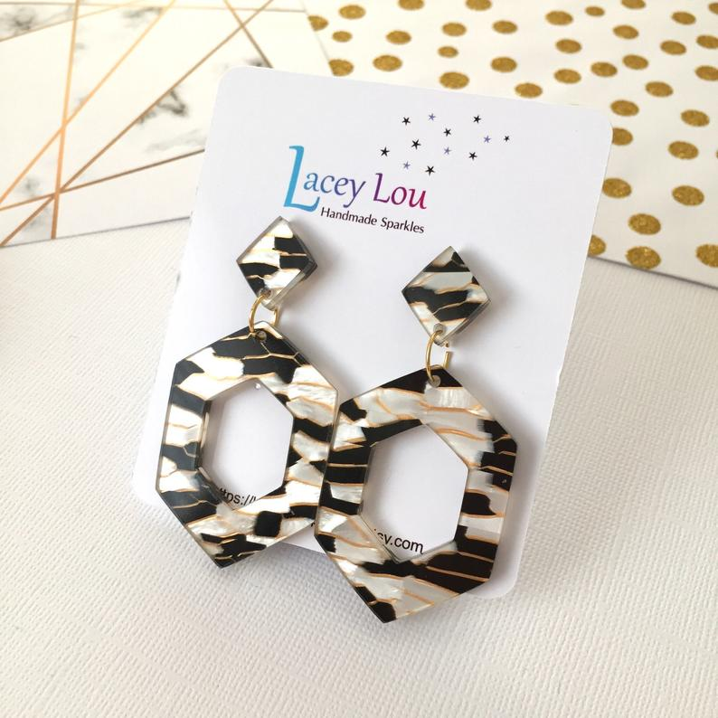 Zebra Dangle Earrings by Lacey Lou