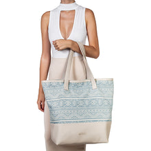 Alyssa Beach Bag – Light Denim and Taupe