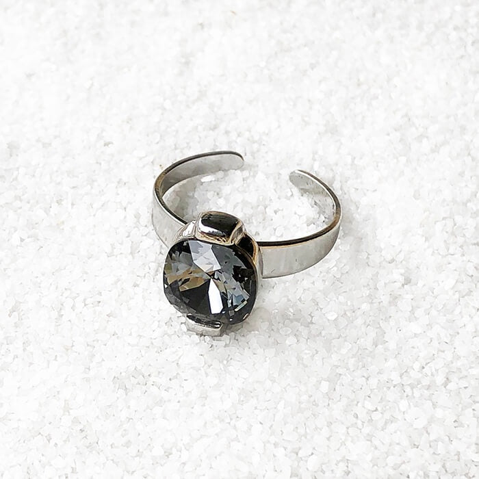 Silver Night Cocktail Ring by Bidiliia
