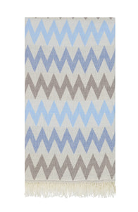 Aztec Zig Zag Authentic Turkish Towel - Blue/Cocoa