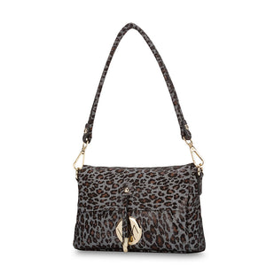 Jules Black Leopard Leather Bag by Vera May