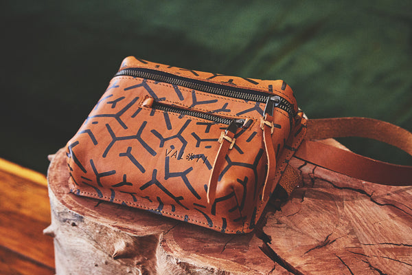 The Khaya Leather Waistbag - Scatterbrain Print