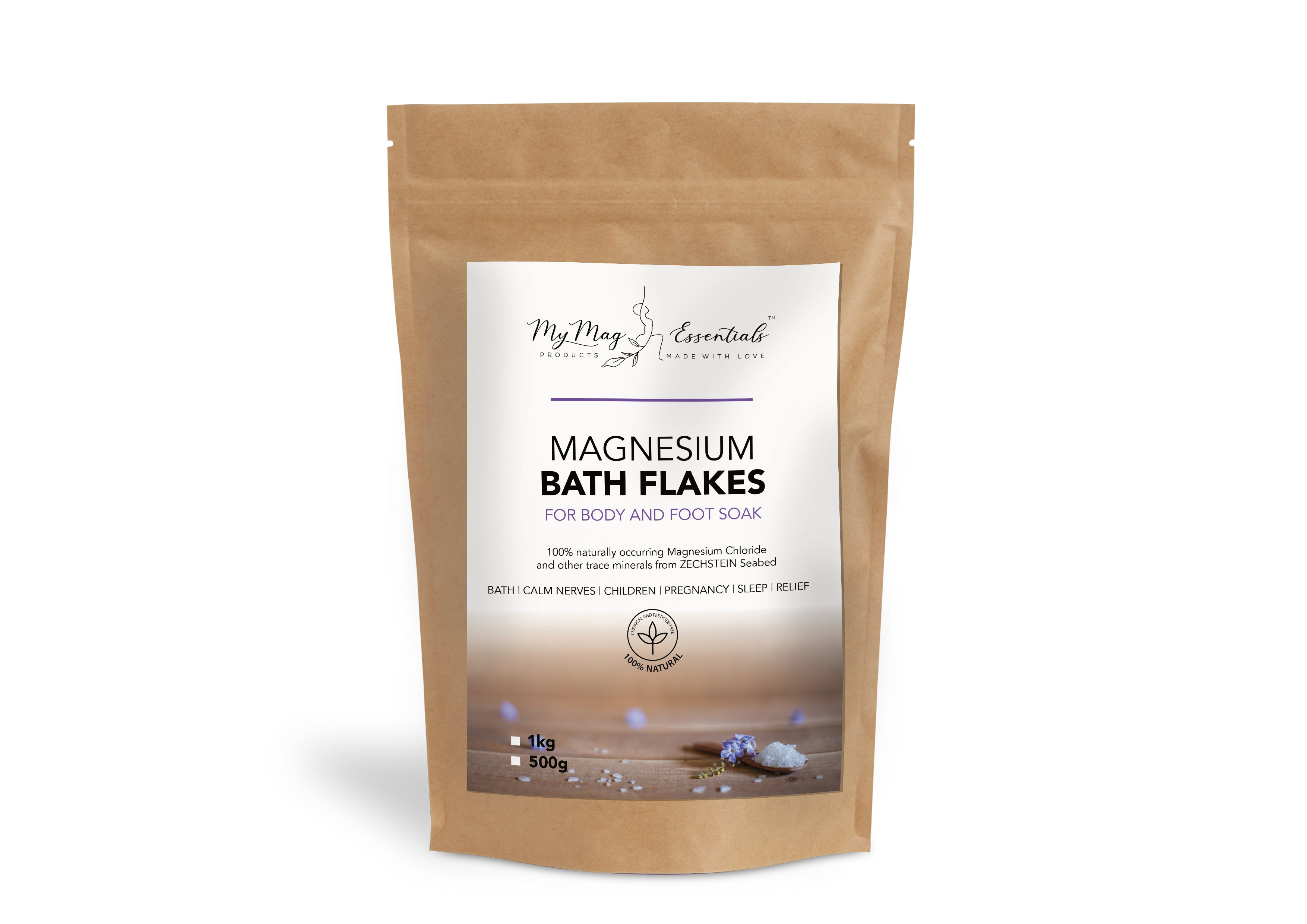 Magnesium Bath Flakes for Body and Foot Soaks 500g Bag