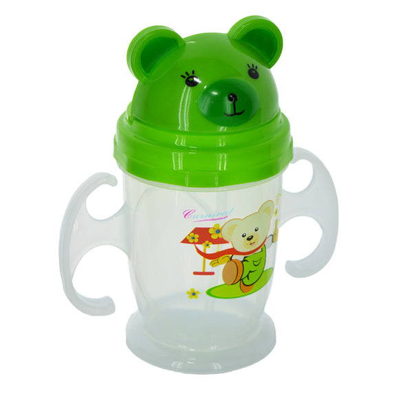 Bear Baby Plastic 250ml Bottle With Nipple Straw