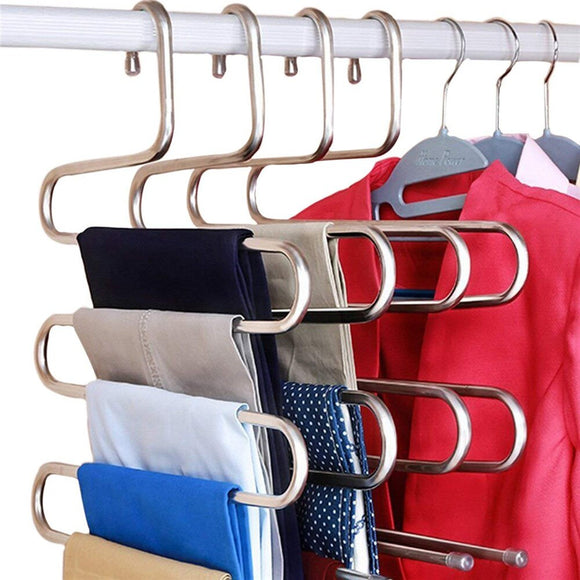 Stainless Steel Heavy-Duty Multi-Purpose 5-Layer Organizing Hanger Silver Color