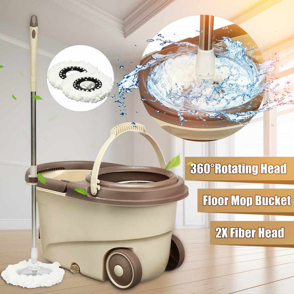 Fashion 360' Degree Spin Mop With Bucket & One Free Extra Refill