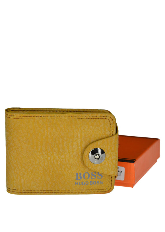 Boss Front Button Leather Wallet For Men