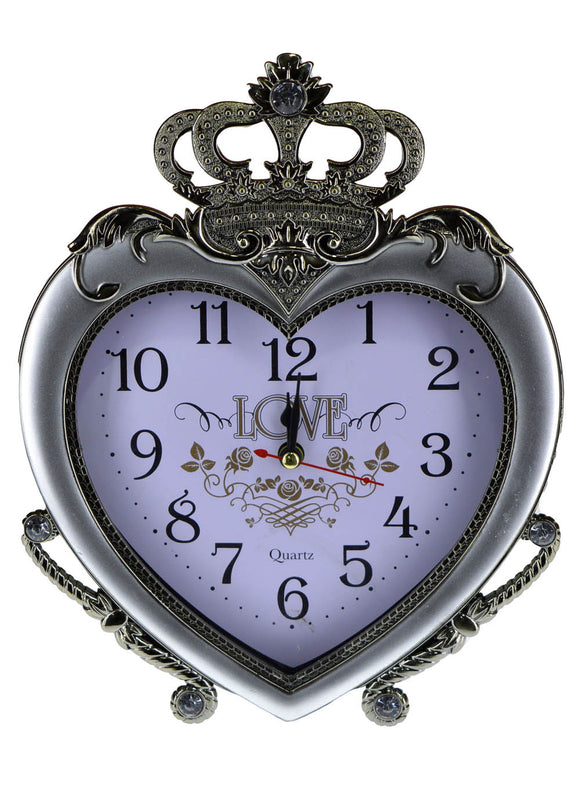 Heart Shape Alarm & Table Clock 8.5 X 7 inches