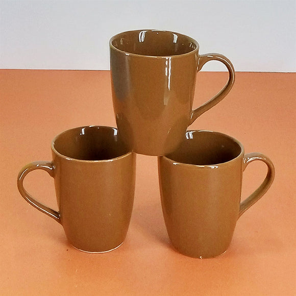 Pack Of 6 Daily Use Medium Size Ceramic Cups ( Brown )