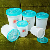 Pretty Neat 6pcs Multi-Purpose Plastic Grains, Staples & Snack Storage Jar Set