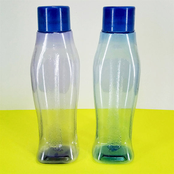 Pack Of 2pcs Ultra Cool Transparent Plastic Fridge Water Bottle Set ( Random Colors )