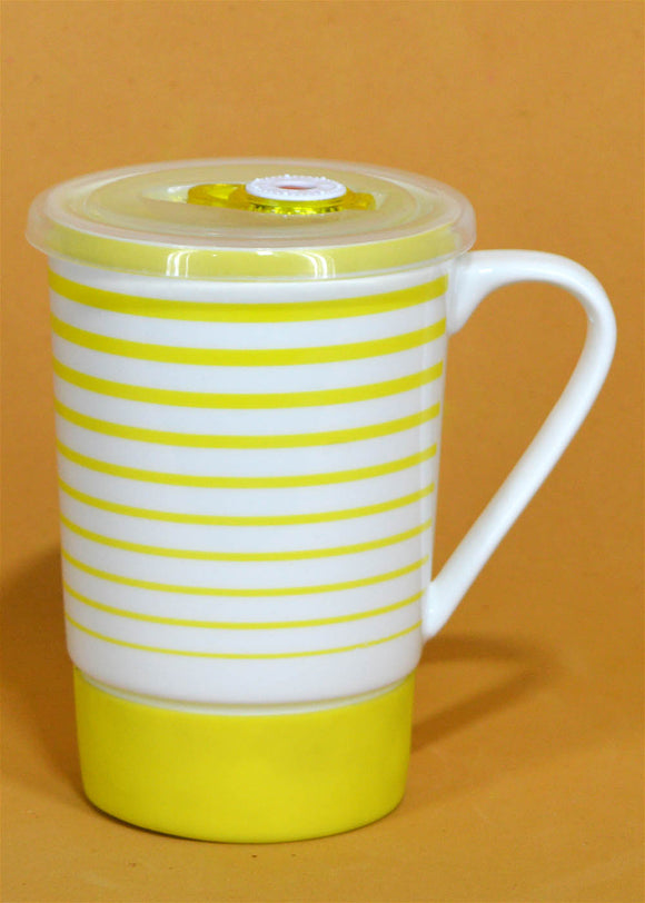 Yellow Lines Ceramic Mug With Air Tight Plastic Lid