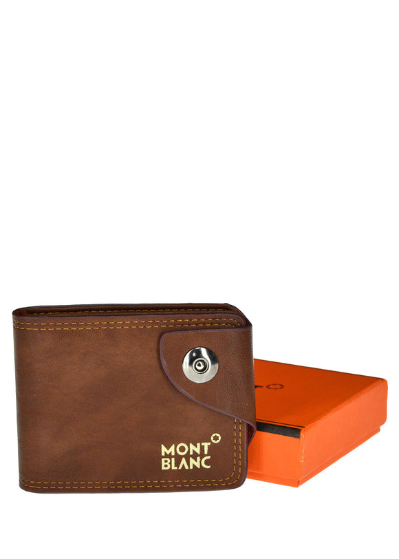 Mont Blanc Front Button Leather Wallet For Men