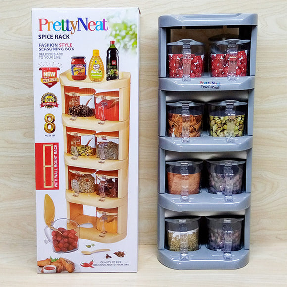 Pretty Neat Space-Saving Plastic Masala & Spices Storage Tower Rack With Spoons