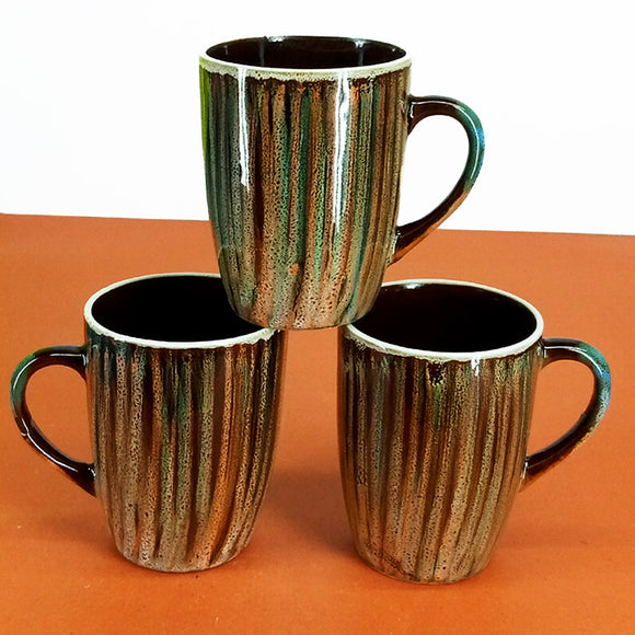 Pack Of 6pcs Large Size 270ml Brown Lines Ceramic Mug Set