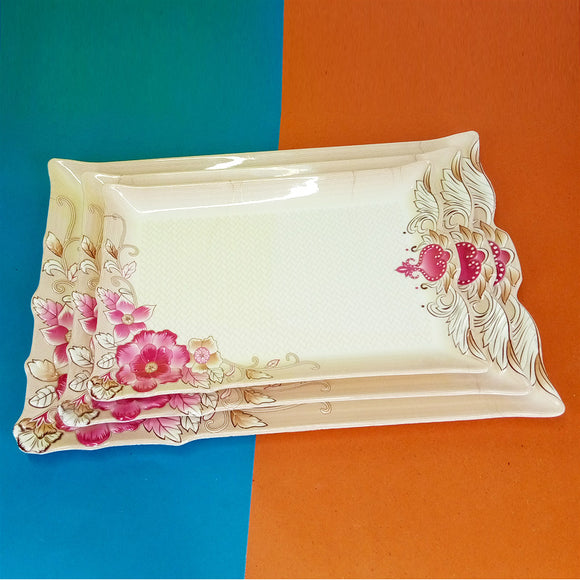3pcs Melamine Heavy Plastic Tray Set