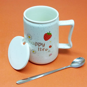 Ceramic Imported Quality Happy-Life Mug With Ceramic Lid & Steel Spoon
