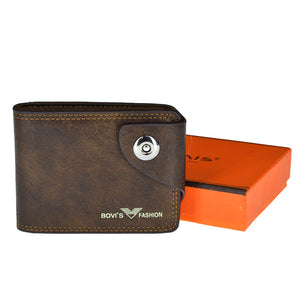 Bovi's Fashion Front Button Leather Wallet For Men