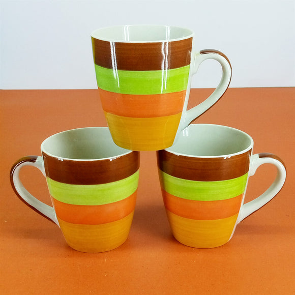 Pack Of 6pcs Daily Use Medium Size Ceramic Cups Set ( Multi-Color )