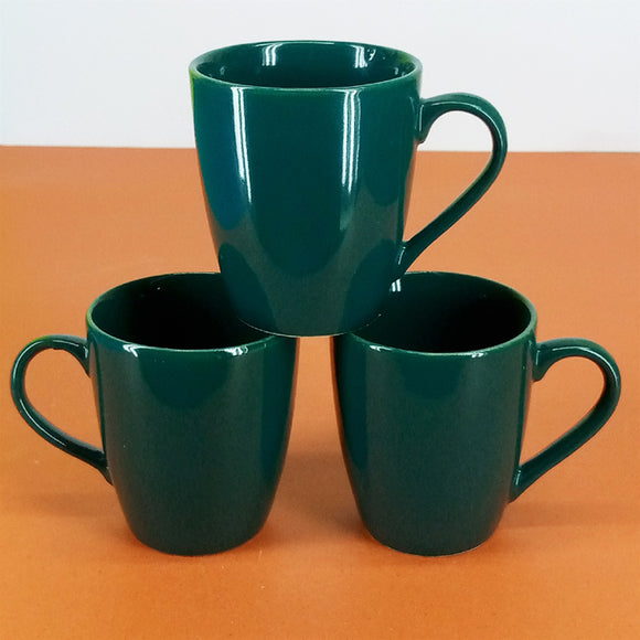 Pack Of 6pcs Daily Use Medium Size Green Ceramic Cups Set