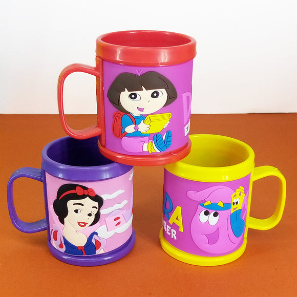 Character Printed Kids' Plastic Mug With Silicon Printing ( Random Colors )