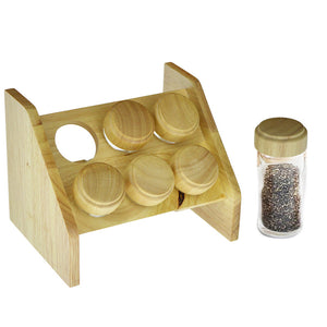 6pcs Spice Shaker Bottle Cruet Set With Wooden Bamboo Stand & Glass Bottles