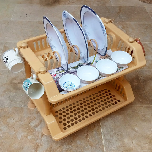 Ideal Plastic 2-Layer Dishes & Plates Organizing Rack