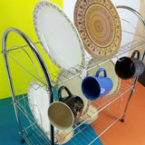 Silver Coated Metal 3-Layer Dishes & Plates Organizing Rack