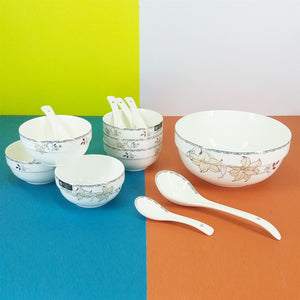 Bone China Imported Quality 14-Pcs Soup & Desert Bowl Set With Spoons