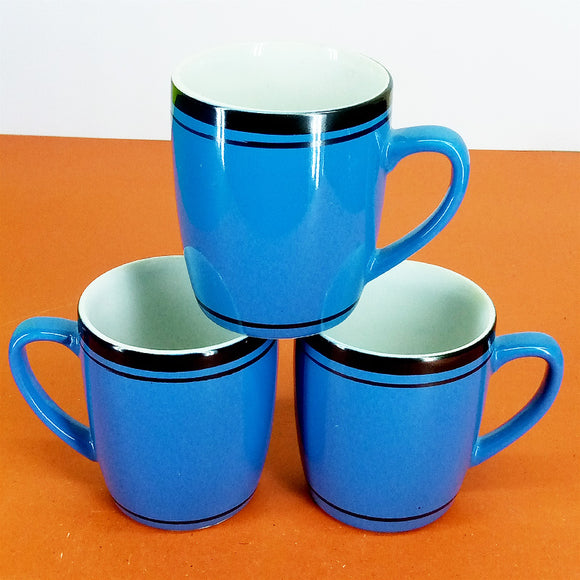 Pack Of 6pcs Medium Size Shiny Blue Black Border Daily Use Ceramic Cup Set