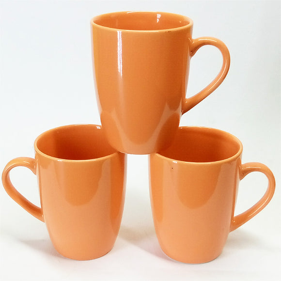 Pack Of 6pcs Large Size 270ml Ceramic Orange Mug Set