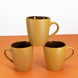 Pack Of 6pcs Medium Size Matte Finish Light-Brown Daily Use Ceramic Cups