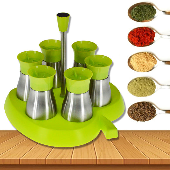 6pcs Spice Shaker Bottle Cruet Set With Stand ( Steel & Glass)